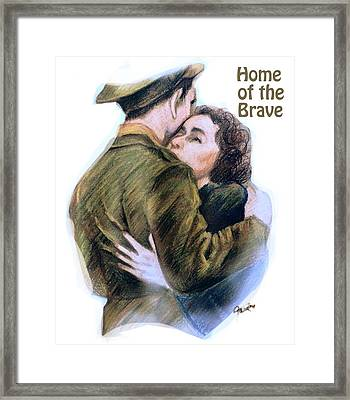 Home Of The Brave Text Framed Print