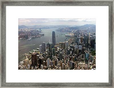 Hong Kong Central From Above Framed Print by Lars Ruecker