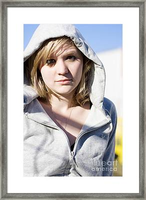 Hooded Winter Woman Framed Print