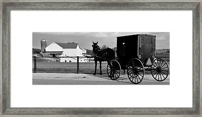 Horse And Buggy And Farm Framed Print by Frozen in Time Fine Art Photography