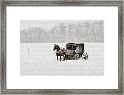 Horse And Buggy In Snow Storm Framed Print by Dan Friend