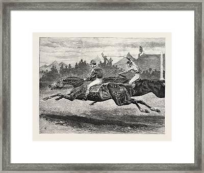 Horse Racing, Engraving 1884, Life In Britain, Uk, Britain Framed Print