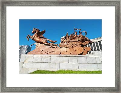 Horse Statue Before The Children's Framed Print by Michael Runkel
