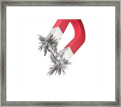 Horseshoe Magnet Attracting Metal Filings Framed Print by Dorling Kindersley/uig