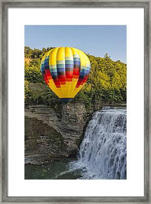 Hot Air Ballooning Over The Middle Falls At Letchworth State Par Framed Print