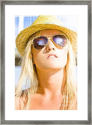Hot Beach Babe In Summer Fashion Framed Print
