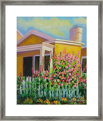Hot Hollyhocks Framed Print
