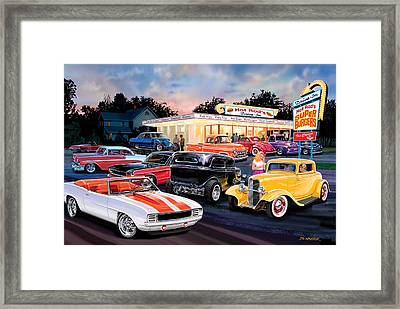 Hot Rod Drive In Framed Print by Bruce Kaiser