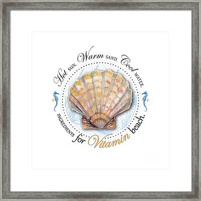 Hot Sun. Warm Sand. Cool Water. Ingredients For Vitamin Beach. Framed Print by Amy Kirkpatrick