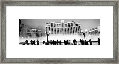 Hotel Lit Up At Night, Bellagio Resort Framed Print by Panoramic Images
