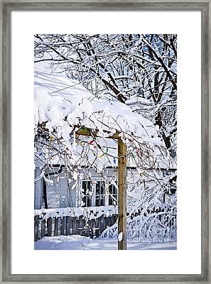 House Under Snow Framed Print by Elena Elisseeva