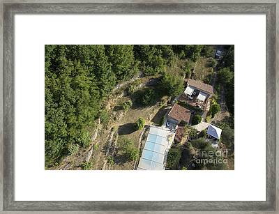 House With A Covered Pool In Mountains Framed Print