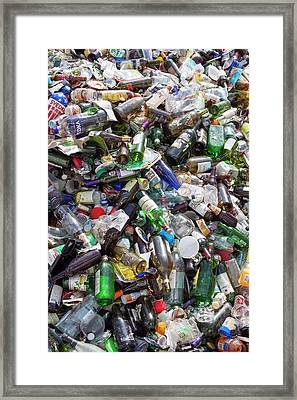 Household Waste At A Recycling Plant Framed Print