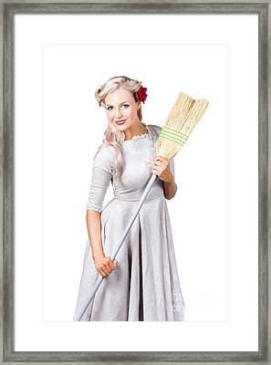 Housemaid With Broom Framed Print by Jorgo Photography - Wall Art Gallery