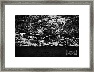 Houses On The Outskirts Of Oksfjord During Winter Norway Europe Framed Print