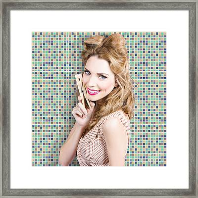 Housework. Smiling Young Woman Holding Laundry Peg Framed Print by Jorgo Photography - Wall Art Gallery