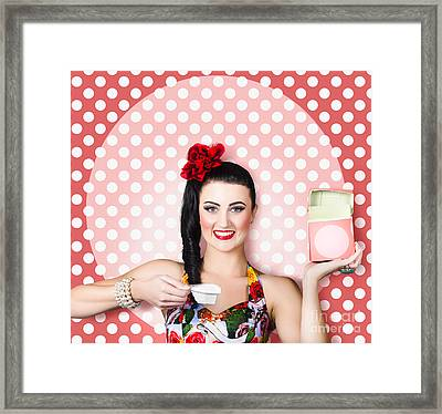 Housework Woman With Washing Machine Soap Powder Framed Print by Jorgo Photography - Wall Art Gallery
