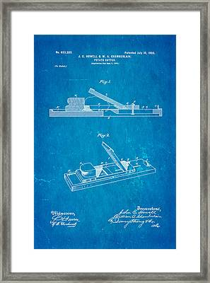 Howell And Chamberlain French-fry Potato Cutter Patent Art 1900 Blueprint Framed Print by Ian Monk