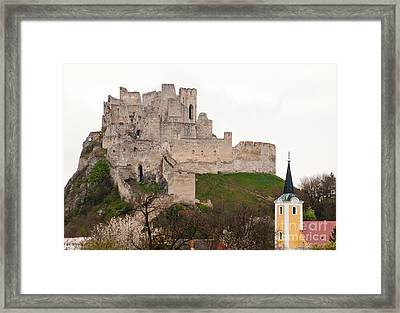 Framed Print featuring the photograph Hrad Beckov - Castle by Les Palenik