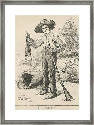 Huckleberry Finn Illustration Framed Print