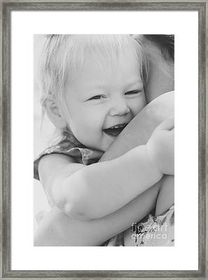 Hugging Mother And Daughter In Black And White Framed Print