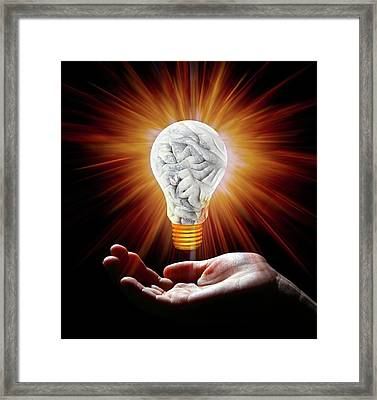 Human Brain In Shape Of Lightbulb Framed Print by Victor De Schwanberg