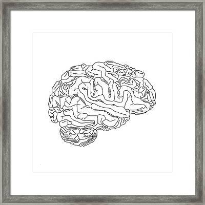Human Brain Framed Print by Russell Kightley