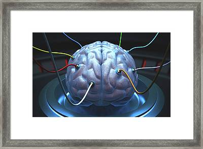 Human Brain With Sensors Framed Print