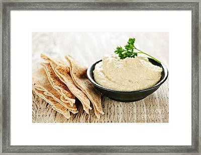 Hummus With Pita Bread Framed Print