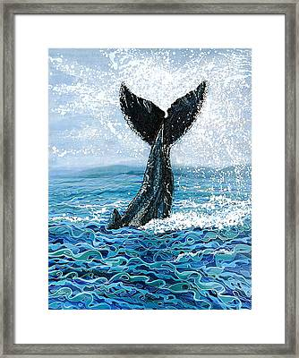 Framed Print featuring the painting Humpback Flukes by Debbie Chamberlin