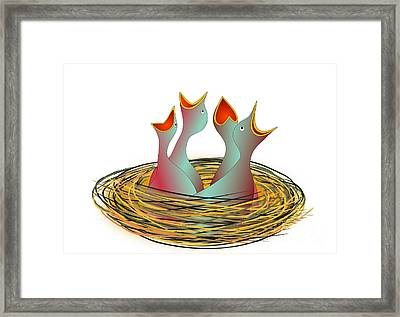 Hungry Fledgeling In The Nest Framed Print