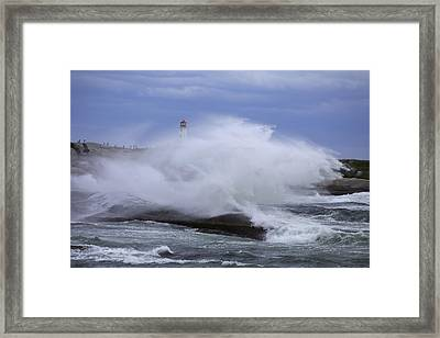 Hurricane Arthur 2014 Hits Peggy's Cove Framed Print