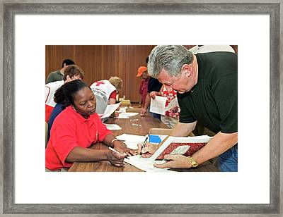 Hurricane Katrina Disaster Relief Centre Framed Print by Jim West