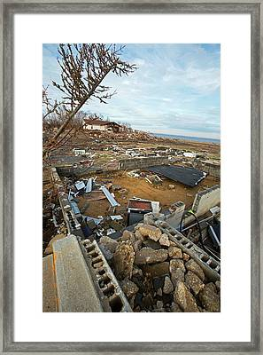 Hurricane Sandy Damage Framed Print by Jim West