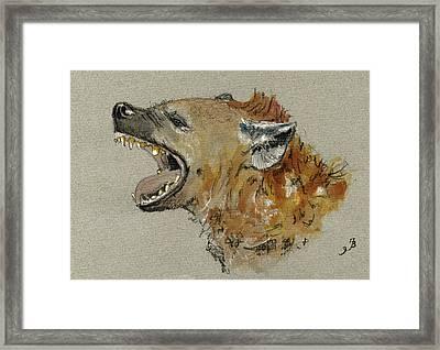 Hyena Head Framed Print by Juan  Bosco