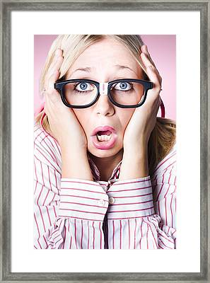 Hysterical Business Woman Having Panic Attack Framed Print by Jorgo Photography - Wall Art Gallery