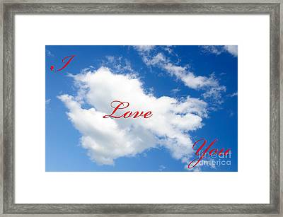 1 I Love You Heart Cloud Framed Print