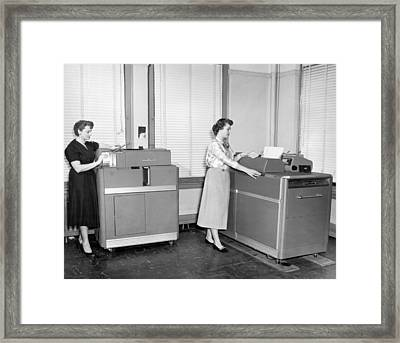 Ibm Punch Card Machines Framed Print by Underwood Archives