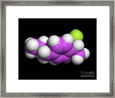 Ibuprofen Molecule, Painkilling Drug Framed Print by Dr. Tim Evans