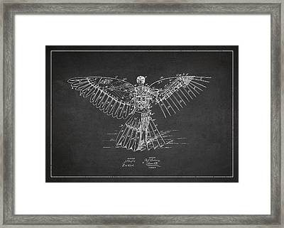 Icarus Flying Machine Patent Drawing Rear View Framed Print by Aged Pixel