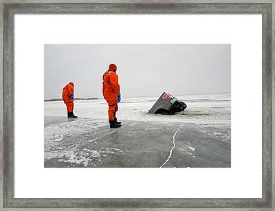 Ice Rescue Practice Framed Print by Kevin Link