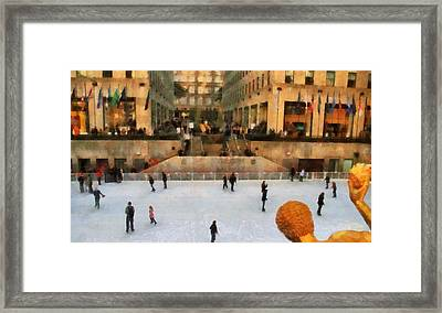 Ice Skating In New York City Framed Print by Dan Sproul