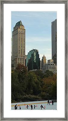 Iceskating In New York City Framed Print by Dan Sproul