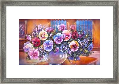 Icicle Pansies Framed Print by Patricia Schneider Mitchell