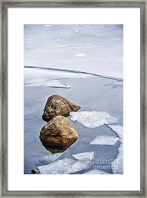 Icy Shore In Winter Framed Print