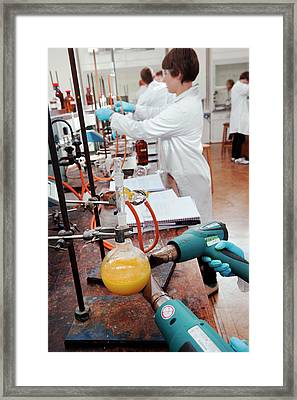 Identifying The Chemicals In Orange Peel Framed Print by Rob Judges/oxford University Images