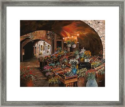 Il Mercato Dei Fiori Framed Print by Guido Borelli