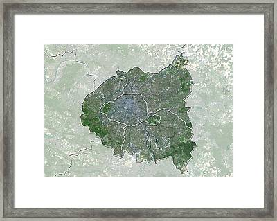 Ile-de-france, France, Satellite Image Framed Print by Science Photo Library