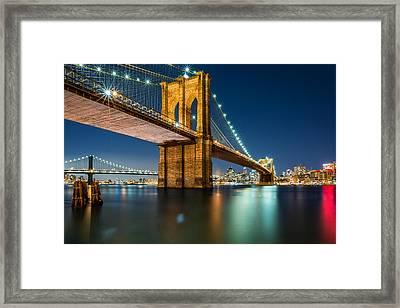 Illuminated Brooklyn Bridge By Night Framed Print