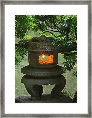 Illuminated Stone  Lantern In Portland Framed Print